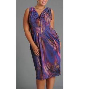 Anna Scholz Digital Jersey Cowl Neck Dress Plus
